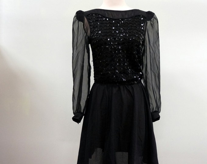 Black Sparkle Mini Dress 1960s Vintage Chiffon & Sequin Party Dress SMALL Long Sleeve 60s Cocktail Dress LBD Little Black Dress Boston Maid