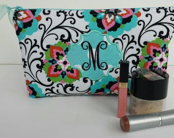 Personalized Monogrammed Azalea Floral Monogrammed Cosmetic Bag