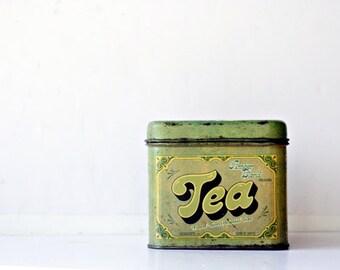 Vintage Tea Tin - Green Storage Box Organizer Made by Cheinco , Gifts for Tea Lovers, Green Home Decor, Kitchen Decor, Storage, Display Box
