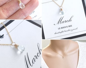 March Birthstone Aquamarine Gemstone Necklace, Birthday, Something Blue, Bridesmaid, Gift, Gold, Silver