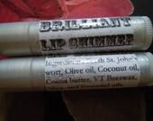 Brilliant Lip Shimmer: Herbal Lip Tint w/ Calendula, Fair Trade Palestinian Olive Oil & Cocoa Butter, Coconut Oil, Orange for ALL genders!