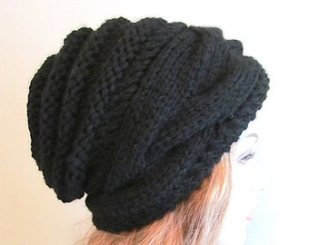 SALE Instant Download PDF Knitting Pattern Braided Cable Slouchy Beanies Berets Beehive Hats Womens Girls