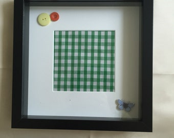 REDUCED - Green Gingham Fabric Picture - Black Wooden Frame - Butterfly - Buttons - made in UK