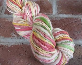 Handspun Yarn, Thick and Thin, Art Yarn, Wool,  Targhee, Bulky, Single Ply, Sushi