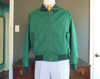 RARE Vintage GT, Inc. for Brooks Brothers Kelly Green Harrington G9 Style Light Jacket 44. Made in USA.