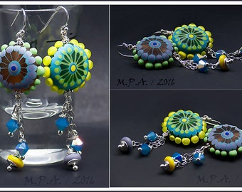 Starflower* lampwork Earrings including Sterling Silver and Swarovski Chrystal beads - Glass Art by Michou P.Anderson