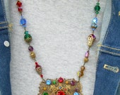Vintage Assemblage Necklace with Colorful Rhinestone Brooch and Vintage Crystals