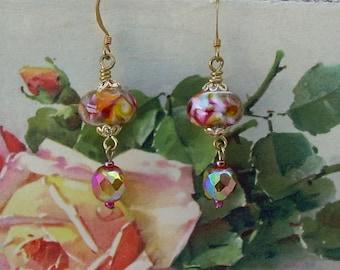 SRA Lampwork Bead and Vintage Crystal Earrings