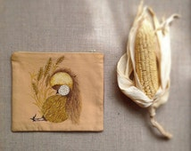 Small sleepy chicken bag. Hand painted cosmetic bag.  Hand painted make up bag. Ready to ship.