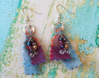 Wrap Scrap Earrings - Girasol Earrings - Colorful Woven Earrings - Fabric Mixed Media Earrings
