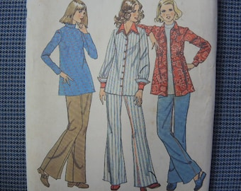 vintage 1970s simplicity sewing pattern 6634 misses maternity shirt jacket top and wide leg jeans size 16