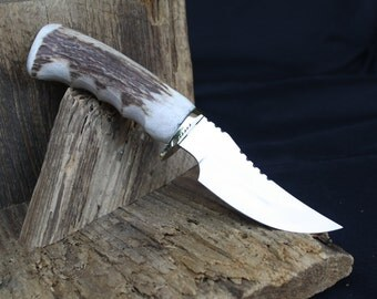 Handmade Hunting Skinner Knife, Large Deer Stag Handle, File Worked Blade, Leather Sheath, FREE SHIPPING