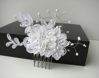 White lace bridal hair comb  flower Wedding hair piece Beaded lace