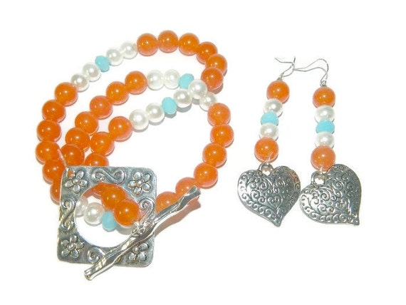 orange topaz beaded necklace with earrings by