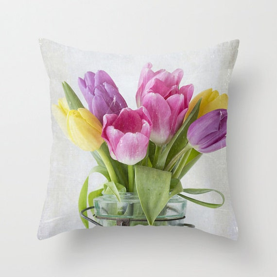 Tulips in a Jar, Photo, Throw Pillow, Outdoor Pillows, Pillow Covers, Flower, Botanical, Floral, Photography, Housewarming Gift, Home Decor