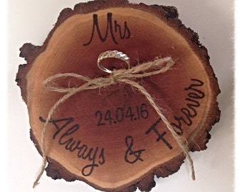 Ring bearers log slice cushions