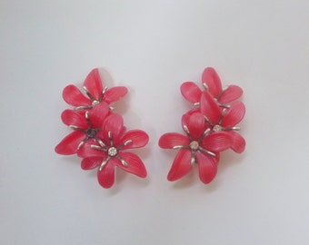 Pink hibiscus clip-on earrings - faux ear cuff style - big, oversized quirky fun statement jewelry - island/Hawaiian look!