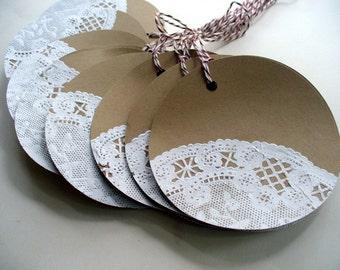 Khaki and Lace Gift Tags, Hang tags, Christmas tags, Wedding Tags, Wine Tags, Jar Tags, Fall Wedding