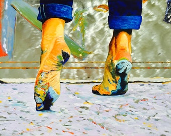 Happy Feet Print on Metal, Fine Art Oil Painting on Stainless Steel Panel Wall Art Decor, Painted Feet