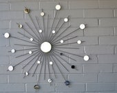 Choose Your Size! Hand Welded Steel Starburst Sunburst Modern Metal Wall Art Mirror Sculpture Atomic Interior Home Style Gray House Staging