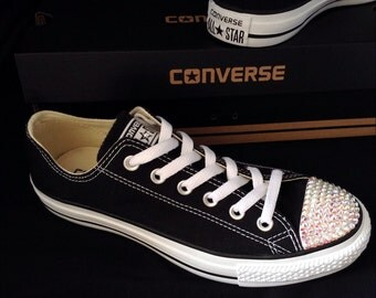 Custom Converse Low Top Black White Canvas Bling Sneakers w/ Swarovski Crystal Rhinestone Chuck Taylor All Star Kickss Mens Shoes