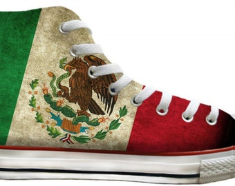 Mens Ladies Viva Mexico Flag pride distressed Custom Print High Top Converse w/ Swarovski Crystal Rhinestones Chuck Taylor All Star Shoes