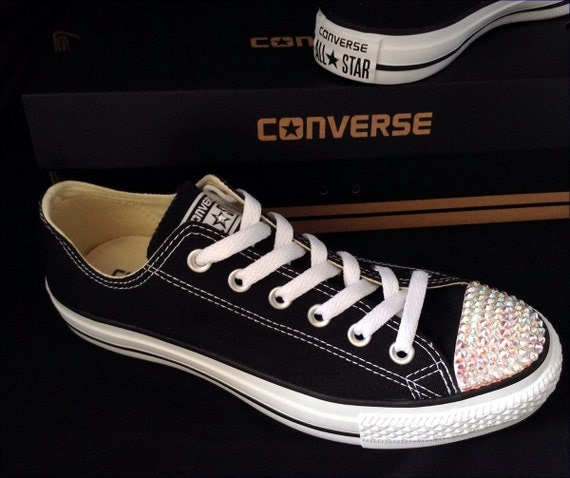 Black Converse Low Top Customized Canvas Bling Sneakers w/ Swarovski Crystal Rhinestone Chuck Taylor All Star Kick Wedding Ladies Mens Shoes
