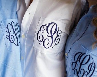 Shirt for Bridal Party - Monogrammed Button Down Shirt in blue or white  with pocket monogram