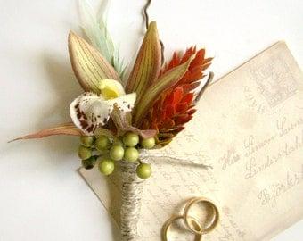 Wedding Boutonniere, Lapel Pin, Rustic Chic Fall Wedding, Orchid Groom, Wedding Ceremony Groomsmen, Wedding Flowers Wildflower Wedding Party