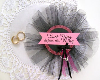 Last Fling Bride's Pin, Corsage, Bachelorette Party, Bride to Be Pin, Hen Party Pin, Black, Hot Pink Glitter