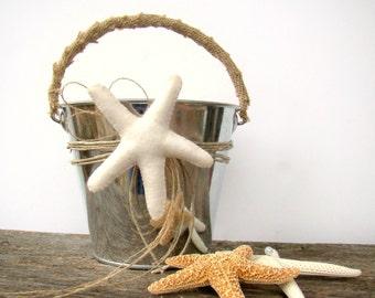 Starfish Flower Girl Pail, Beach Wedding, Flower Girl, Faux Starfish Felt Flowers, Flower Petal Basket, Destination, Beach Ceremony