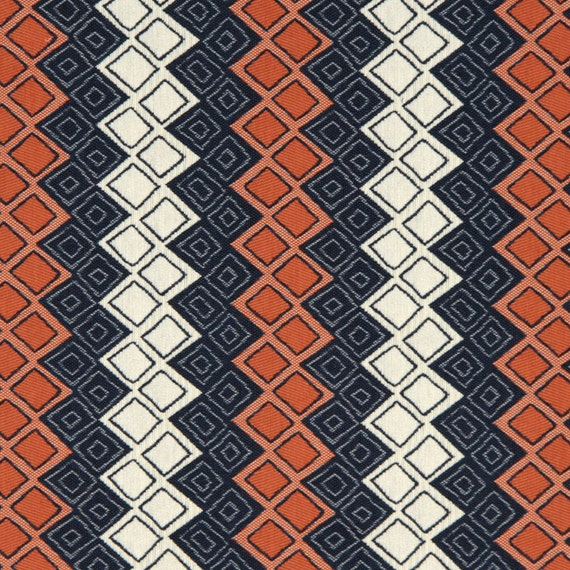 Navy Blue Orange Upholstery Fabric Heavyweight Woven Blue
