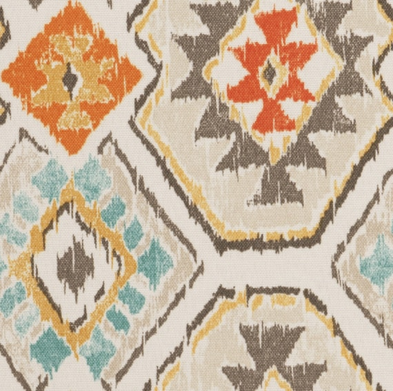 On sale aqua orange brown ikat upholstery fabric by the yard for Fabric for sale by the yard