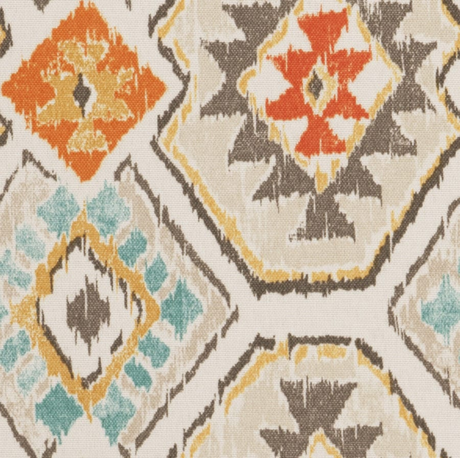 On Sale Aqua Orange Brown Ikat Upholstery Fabric By The Yard