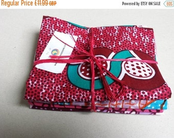 BANK HOLIDAY SALE Bundle of 4 Fat quarters African wax print fabric smaller pieces craft project quilting applique embroidery Bundle 110