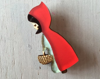 Red Riding Hood Brooch - Red Riding Hood Pin - Fairytales - Fairytale Pin - Laser Cut Jewelry