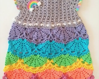 Hand Crocheted Baby Rainbow Dress 18-24 month size
