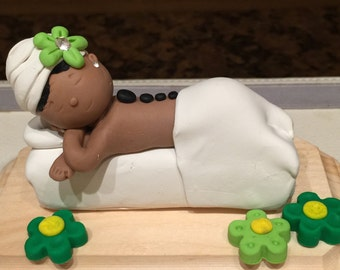 Polymer clay Spa cake topper,Girl at spa,massage therapist,spa girl,resort spa,African American spa lady