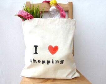 Market bag,  strong shopping bag, grocery bag,  I love shopping