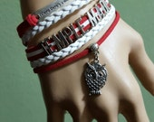 The Temple Owls Infinity Cherry and White Braided Leather Cord Charm Where there's a Will there a way.