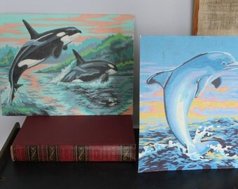 Pair of awesome 1960s vintage paint by numbers, Dolphin and Whales, Beach decor 8 by 10 and 9 by 12