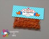 INSTANT DOWNLOAD -Digital File - Fish Valentine Treat Bag Topper- Printable