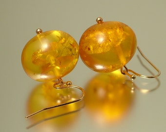 Vintage/ estate  rose gold plated and Baltic honey amber drop earrings - 6 grams - jewelry / jewellery, UK seller