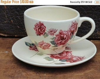 Clearance Vintage Cup and Saucer Set, Rose Teleflora