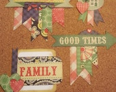 Scrapbook Embellishment - Set of 4 - Paper Piecing - Planner Addict - Photo Journal - Mini Album - Gift Tag - Scrapbook Layout- Paper Crafts