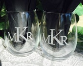 2 Personalized ETCHED Monogram 21oz Stemless WINE GLASSES for Wedding, Anniversary or Bridal Shower Gift,  Favor, Large 21oz Size, gorgeous!