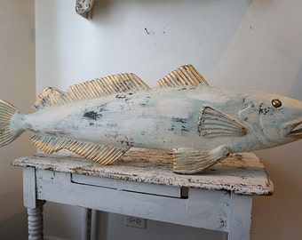 Wood carved fish wall hanging hand carved painted distressed shabby cottage chic beachy blue cream sculpture home decor anita spero design