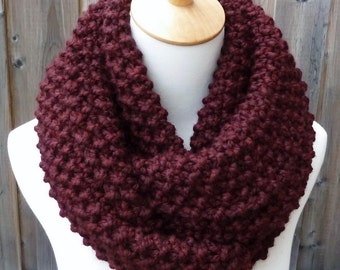 Burgundy Infinity Scarf - Maroon Wool Infinity Scarf - Lambswool Scarf - Bulky Knit Scarf - Circle Scarf - Ready to Ship