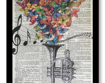 Trumpet Butterfly's - Trumpet Butterfly, Music Artwork Mixed Media printed on 8x10 Vintage Dictionary page, Dictionary art, Dictionary print