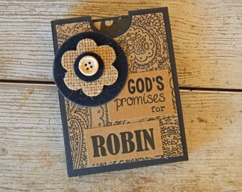 Personalized Pocket Book: GOD'S PROMISES in Kraft and Black